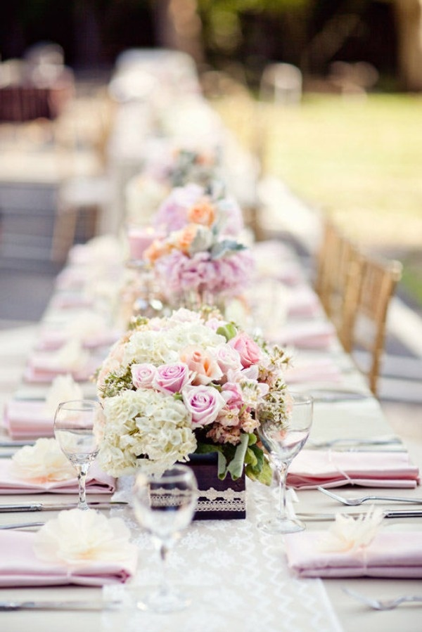 simple outdoor wedding ideas for summer%0A soft pastel pink and mauve hues and lace runners make this outdoor wedding  tablescape so pretty