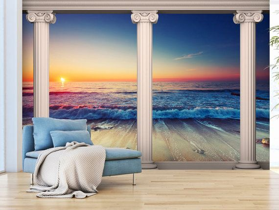 Foto behang muurschilderingen niet geweven 3D moderne kunst zee paradijs muur stickers slaapkamer Decor van het huis van het strand ontwerp kunst aan de muur stickers 295