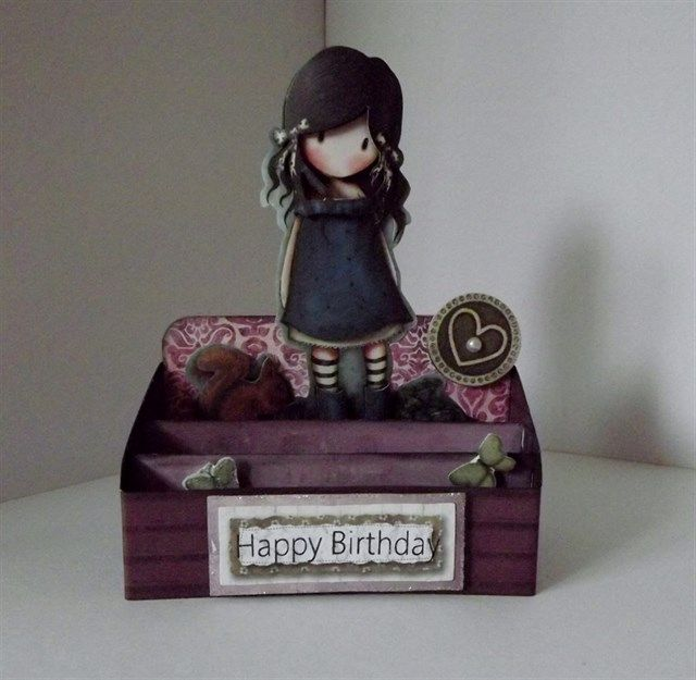 A very different kind of handmade birthday card! This Santoro's Gorjuss girl stands on her own in this 3D stand.
