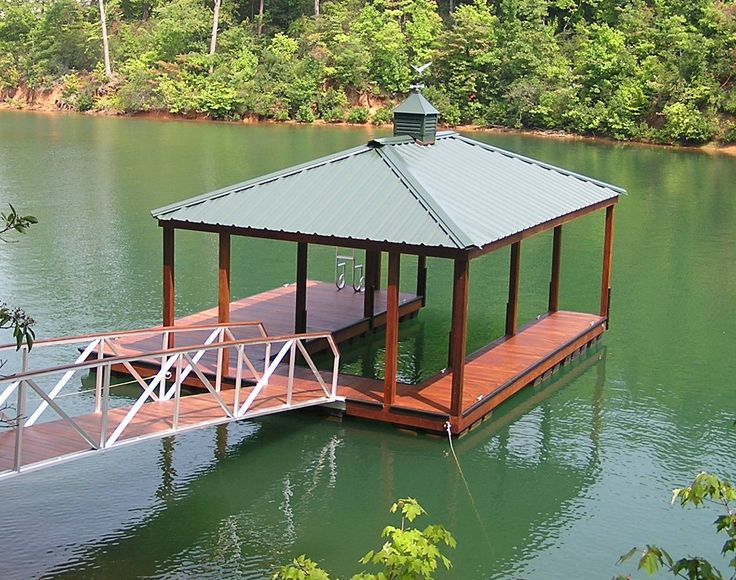 Boatdock With Boat Slip And Metal Roof Boathouse Dock