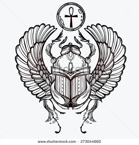 Hand-drawn vintage tattoo art. Vector illustration, symbol of pharaoh, Resurrection element of life ancient Egypt, linear style. Scarab beetle, god sun Ra, wings and ankh. Isolated. White background .