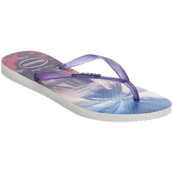 Havaianas Slim Paisage ($40) ❤ liked on Polyvore featuring shoes, sandals, flip flops, flats, purple, women, palm beach sandals, strappy flats, strap sandals and havaianas sandals