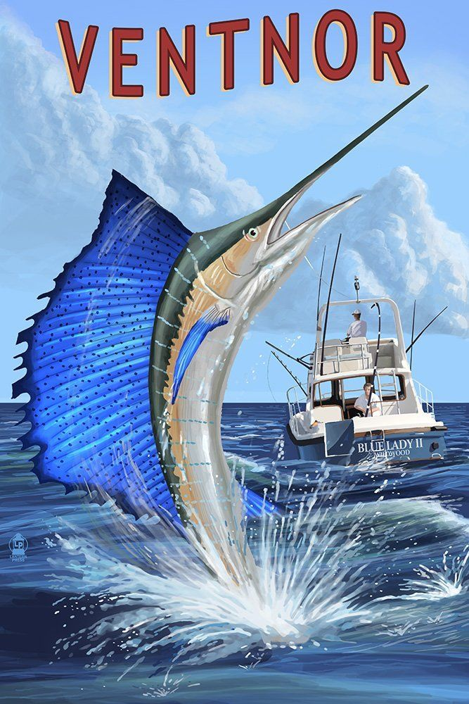 Ventnor, New Jersey Sailfish Deep Sea Fishing (36x54