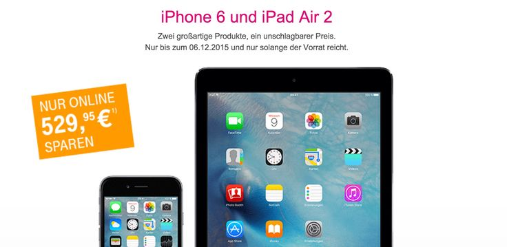 Telekom Online Deal: iPhone 6 und iPad Air 2 Apple Bundle fast 530 Euro billiger - https://apfeleimer.de/2015/11/telekom-deal-iphone-6-ipad-air-2-apple-bundle-billiger - Telekom Apple Bundle mit iPhone 6 und iPad Air 2: nur online 530 Euro billiger! Die Telekom schnürt ein Apple Bundle aus einem iPhone 6 und iPad Air 2 sowie dem passenden Telekom Smartphone Tarif MagentaMobil L mit Top-Handy (damit ist natürlich das Apple iPhone gemeint) und reduziert den Preis d...