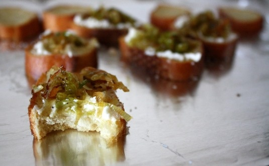 Leek & Goat Cheese Toasts. Janae Monir's blog is sweet and hilarious.