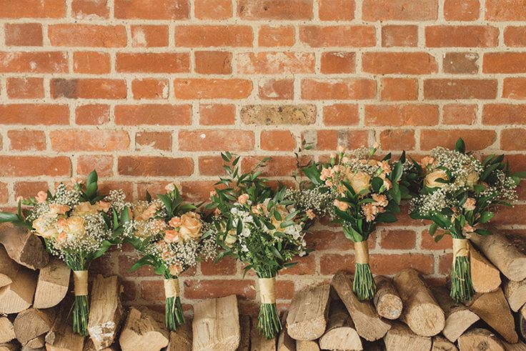 Bouquets Flowers Peach Rose Bride Bridal Bridesmaid DIY Rustic Woodland Marquee Wedding http://www.rebeccadouglas.co.uk/