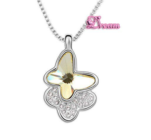 Spedizione gratuita sacchetto del regalo, hotselling classico cristallo collana pendente a farfalla abito da sposa/partito regalo/insieme dei monili, 5959q