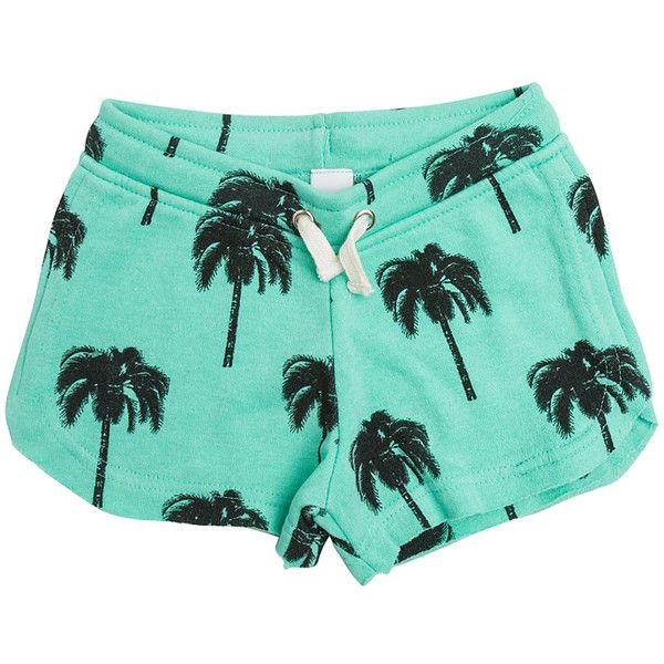 Swell Palms Up Sweat Shorts ($40) ❤ liked on Polyvore featuring activewear, activewear shorts and mint