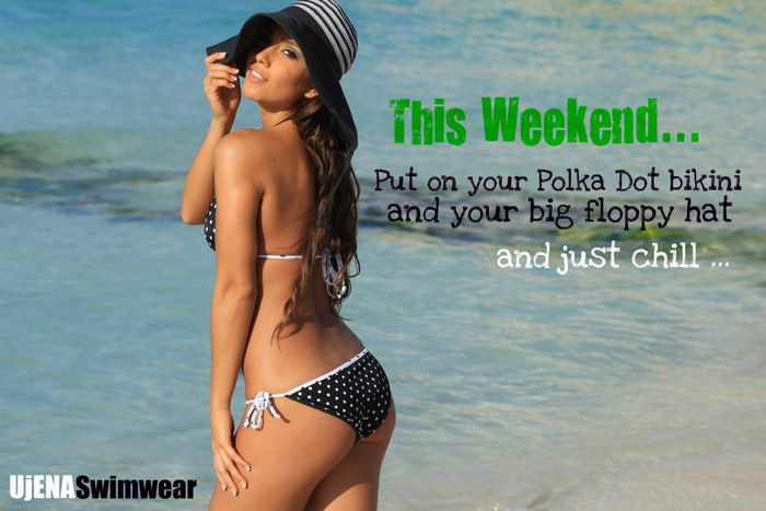 Happy Weekend... Polka Dot Bikinis and Big Floppy Hats is all you need. www.ujena.com #summer