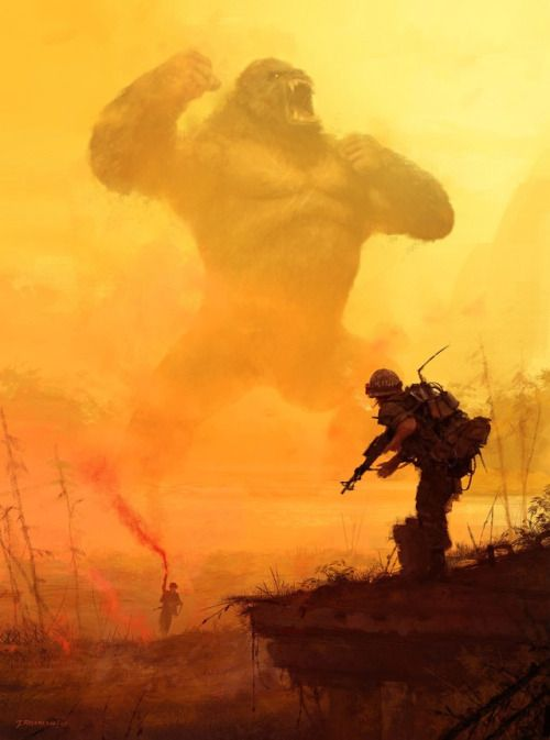 All hail the king! - Kong: Skull Island concept art by Jakub Rozalski