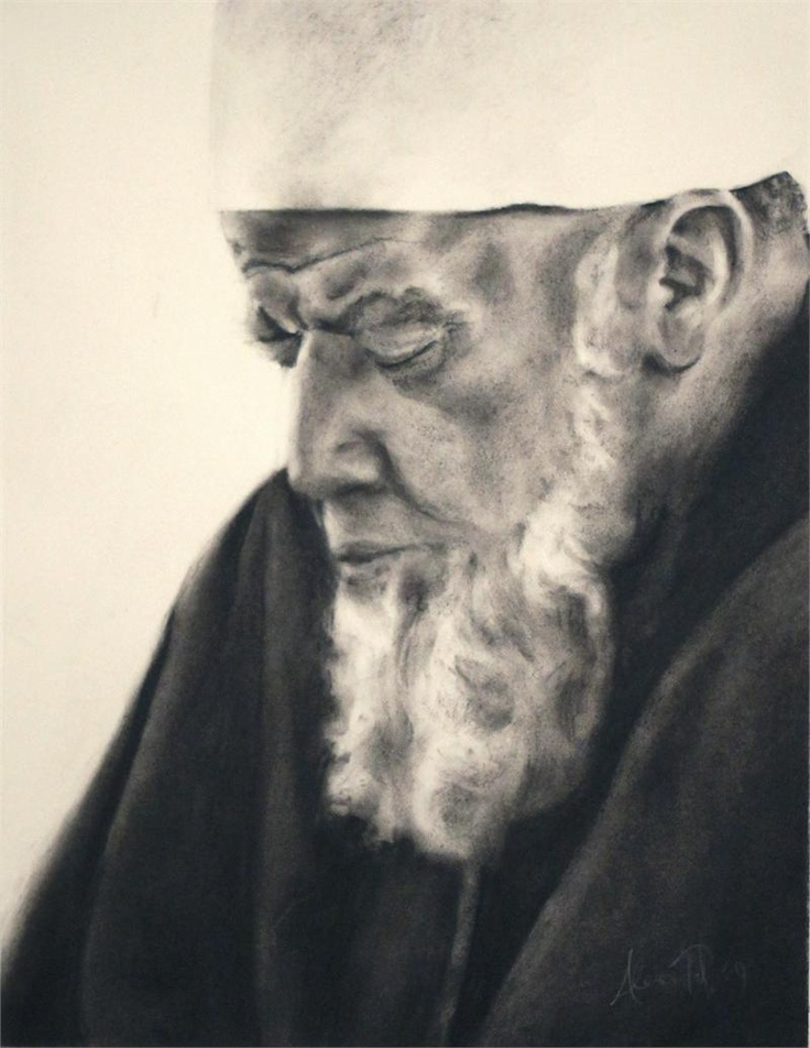 Charcoal Drawing of Sidi Shaykh Muhammad al-Jamal ($60) by Alexis Tate. Sales support artist's efforts to attend University of Spiritual Healing and Sufism. #Spiritual #Sufi #Art