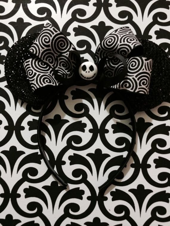 Minnie Mouse Nightmare Before Christmas Jack Skellington Headband Ears