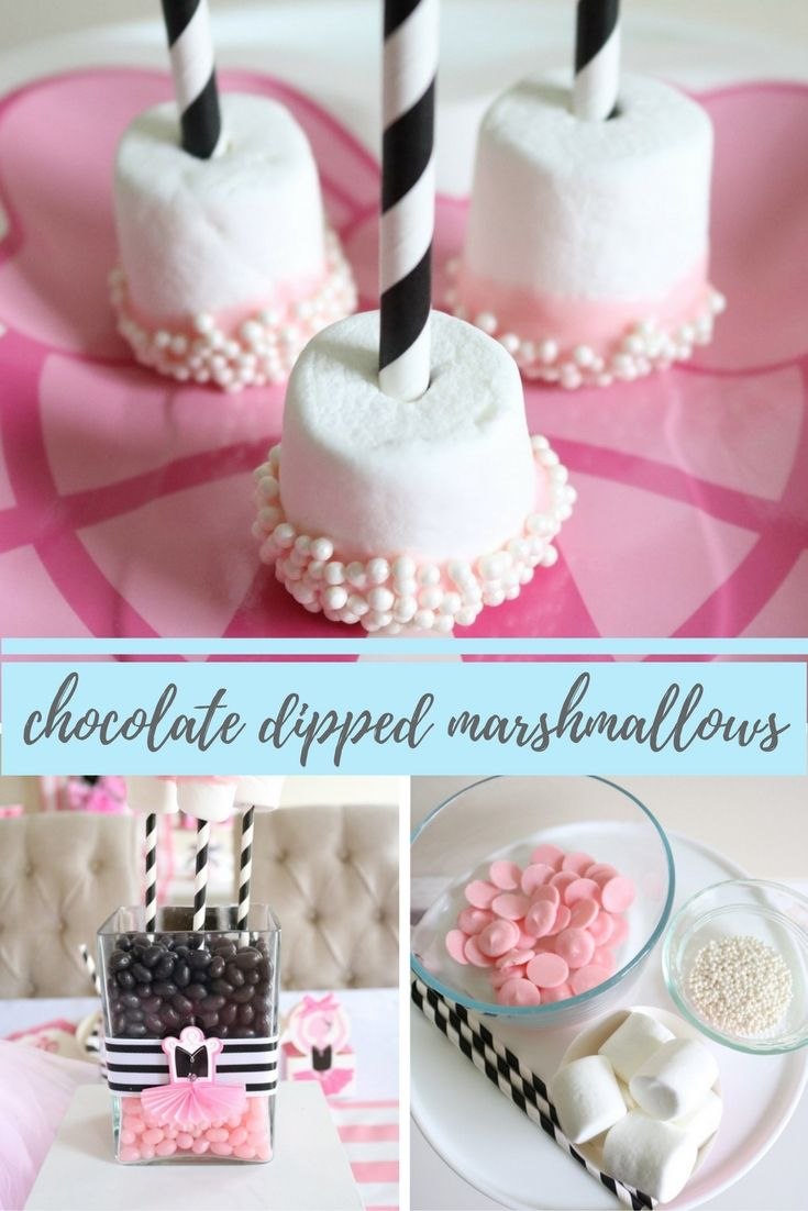 Looking for a quick party treat? These marshmallow pops from @sweetlychicdes are perfect! From a ballerina party to bridal shower, these pretty pink chocolate marshmallow pops will be a hit. Get the recipe on our blog.