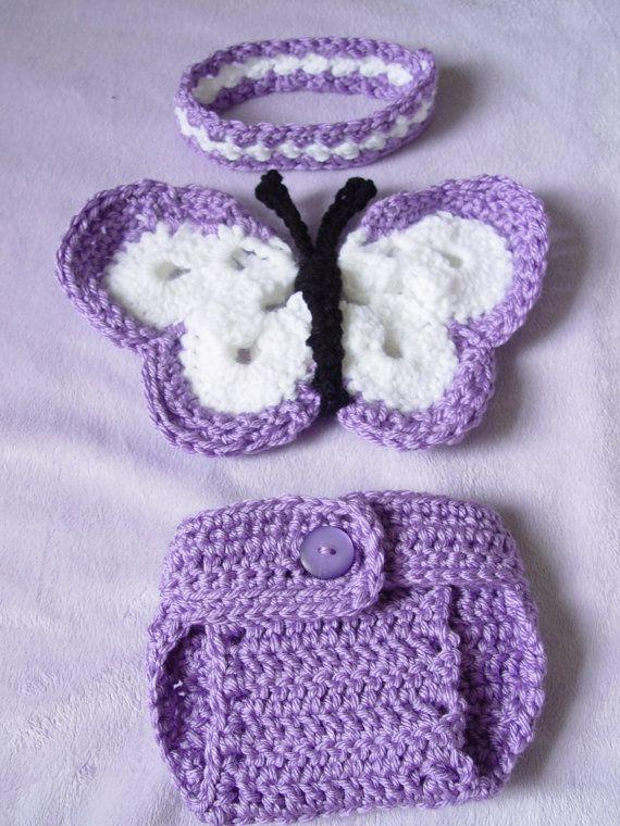 Crochet Baby Wings Pattern Free : Newborn Crochet Butterfly Wings, DIaper cover, headband ...