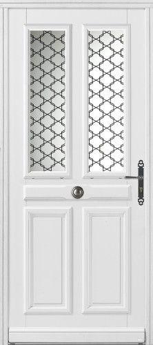 Modèle Piva Porte d'entrée bois classique mi vitrée 1/2 vitrée, double vitrage sérigraphié noir classe P2A, poignée sur plaque rustique