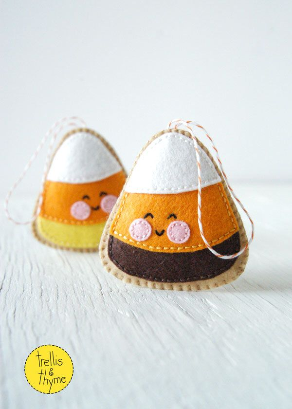 PDF Pattern - Candy Corn, Halloween Felt Ornament Pattern, Softie Pattern by sosaecaetano on Etsy https://www.etsy.com/listing/245371973/pdf-pattern-candy-corn-halloween-felt