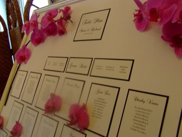 Fresh Orchid Wedding Table Plan by Wedding Paraphernalia from £125.00 - only available locally!