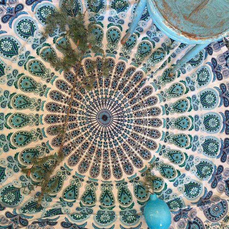 Mandala Tapestry Throw - Aqua Velva