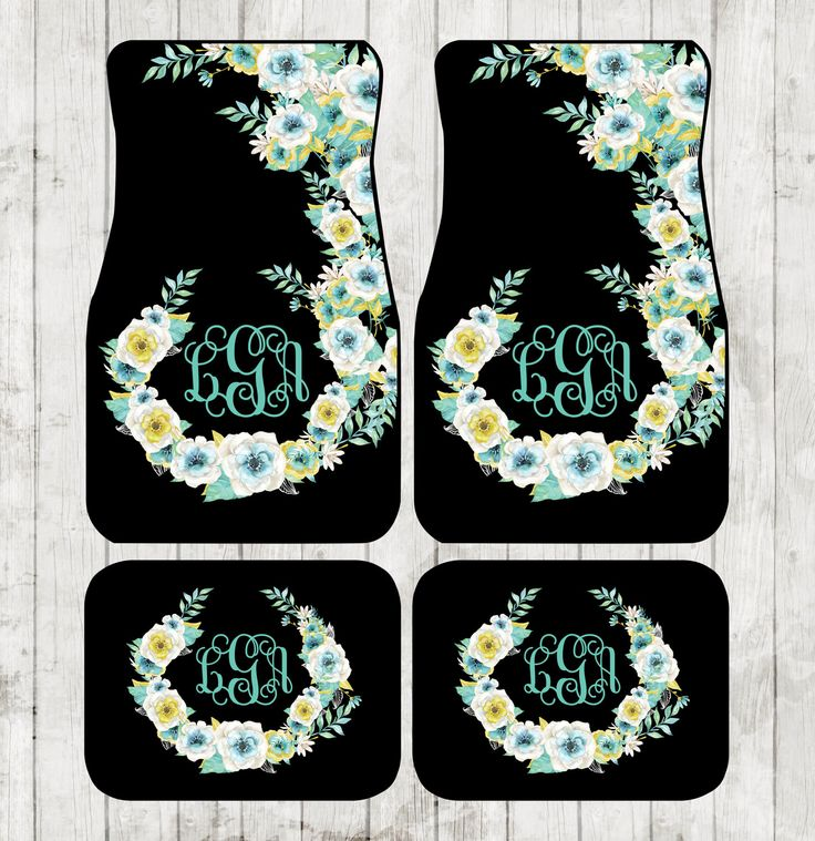 Aqua Floral Monogrammed Car Mats Classy Black Monogram Carmats Car Floor Mats Custom Car Accessories For Her Car Decor Cute Car Accessories by ChicMonogram on Etsy