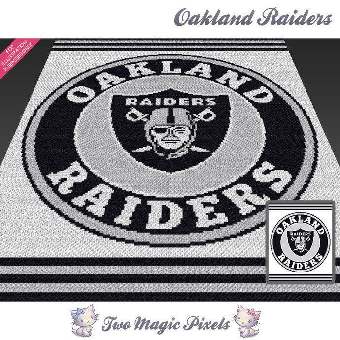 Oakland Raiders crochet blanket pattern; knitting, cross stitch graph; pdf…