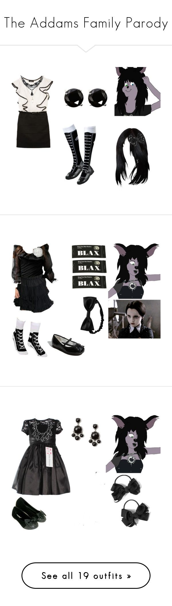 """The Addams Family Parody"" by brainyxbat ❤ liked on Polyvore featuring Amy Byer, Coast, claire's, Sonoma life + style, Disney, Nordstrom, Gap, Blax, Converse and American Apparel"