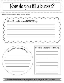 Everything you need besides buckets!  This packet has instructions for starting bucket filling in your classroom. Step by step directions for setting up your classroom for bucket filling, as well as a break down of first week activities. This also includes a journal for your students to record their bucket filling acts and set up goals.