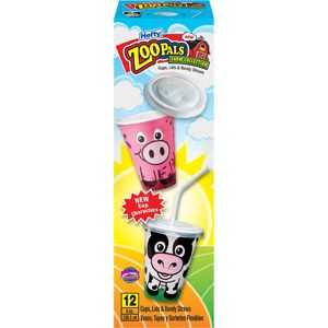 Walmart: Hefty Zoo Pals Farm Collection Cups Lids & Bendy Straws, 8 oz, 12ct
