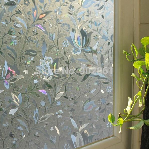 funlife 50x90cm 20x36in tulpe blume 3d statisch haftenden Bad privatsphäre abziehbild glas fenster vinyl in Fenster-Filme von Haus & Garten auf Aliexpress.com