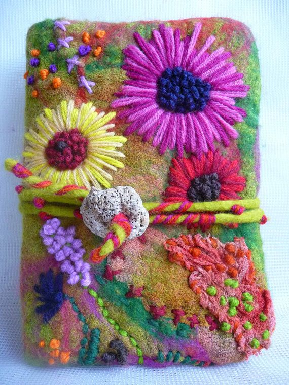 Made to order - Handmade felted wool notebook sketchbook cover, felted journal, eco friendly, handcrafted, cottage garden