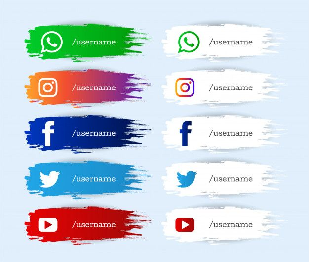 Download Modern Watercolor Social Media Lower Third Icons Set For Free Icon Set Vector Free Social Network Icons