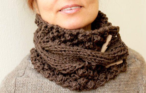 Chunky Cowl  Womens Mocha Chocolate Brown Knit Cowl by warmandsoft, $36.00