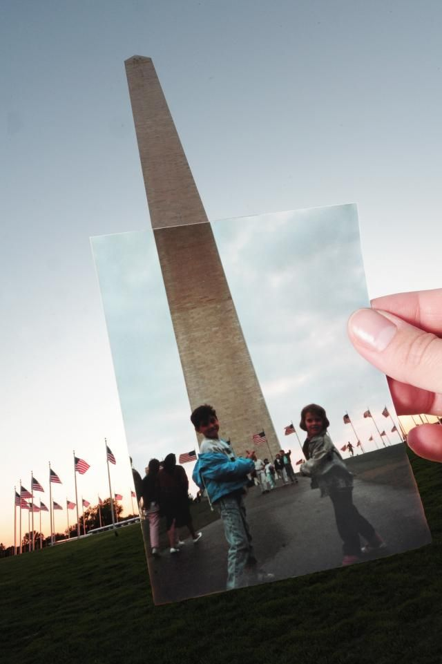 Monumentu a George Washington. Time travel in a photo