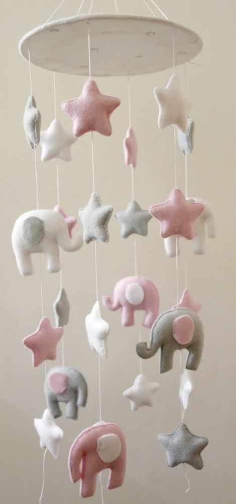 Elephants and stars baby mobile (white, grey,pink)