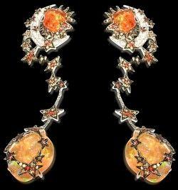 Lydia Courteille Fire Opal & Star Earrings