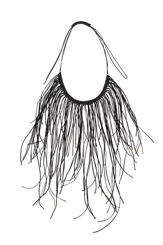 Black Gold Statement Necklace, Leather Fringe Necklace, Handcrafted Fringe Boho Necklace for women, Special gift for her