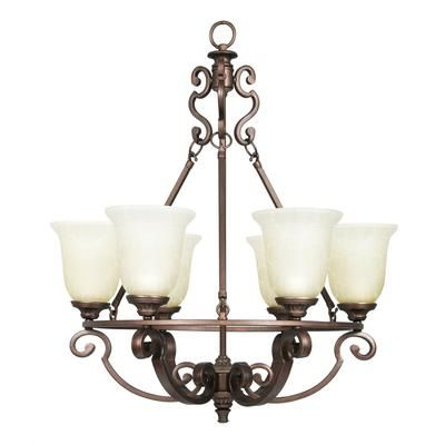 Home Decorator's Collection - Fairview 6 Light Chandelier 25.5 Inch - Heritage Bronze with Tea Stained Water Glass Shades - 15224 - Home Depot Canada
