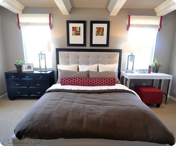 Uneven but equal nightstands touches of fire perfect for Feng shui fireplace in bedroom