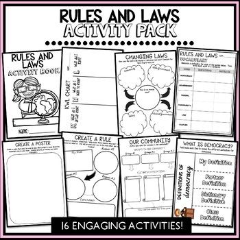 This pack has been designed to cover the civics and citizenship unit about rules, laws and levels of Government in Australia. Topics covered include; Changing laws, creating rules in different environments, the difference between rules and laws, the different levels of Government, democracy, different cultural groups in society, the importance of rules and laws and much more!
