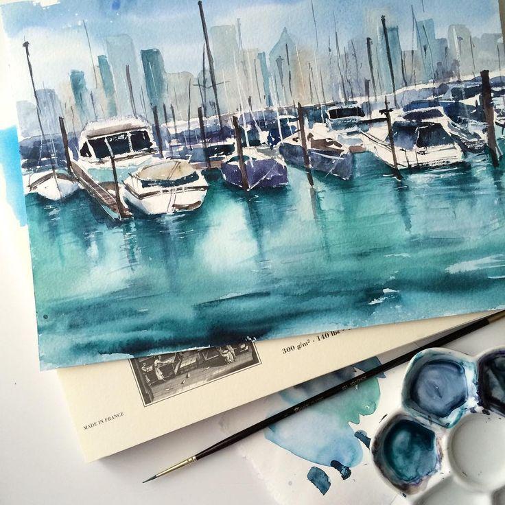 «Холодные цвета и вообще этот цвет воды самые любимые.. Готова раствориться в нем и рисовать вечно #акварель #рисую #рисунок #лодки #пейзаж…»