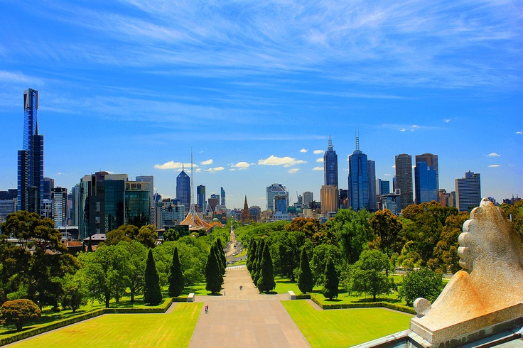 The city view from the Shrine of Remembrance, Melbourne - Australia #Shrine of Remembrance #Melbourne #Australia