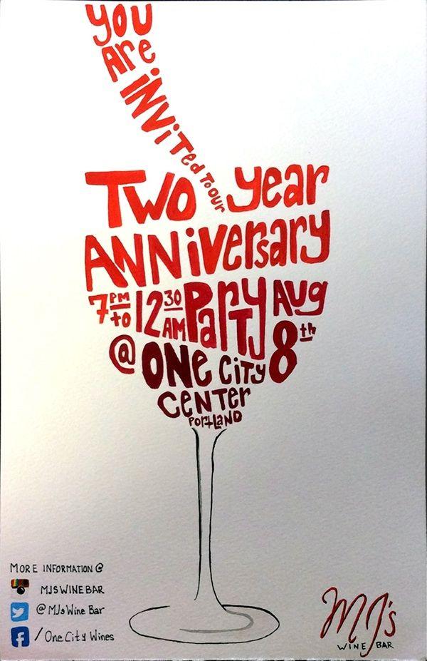 MJ's Wine Bar 2 Year Anniversary Poster