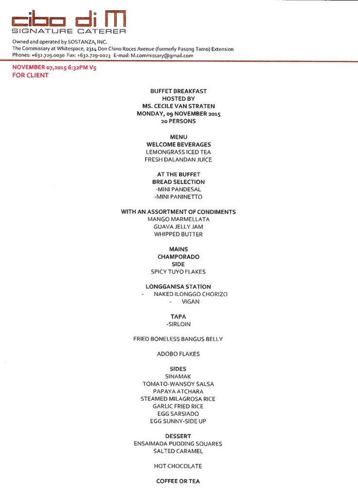 Fab Filipino breakfast menu by Gaita Fores' cibo di M, via Chuvaness