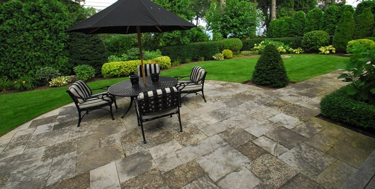 Intricate stone patio