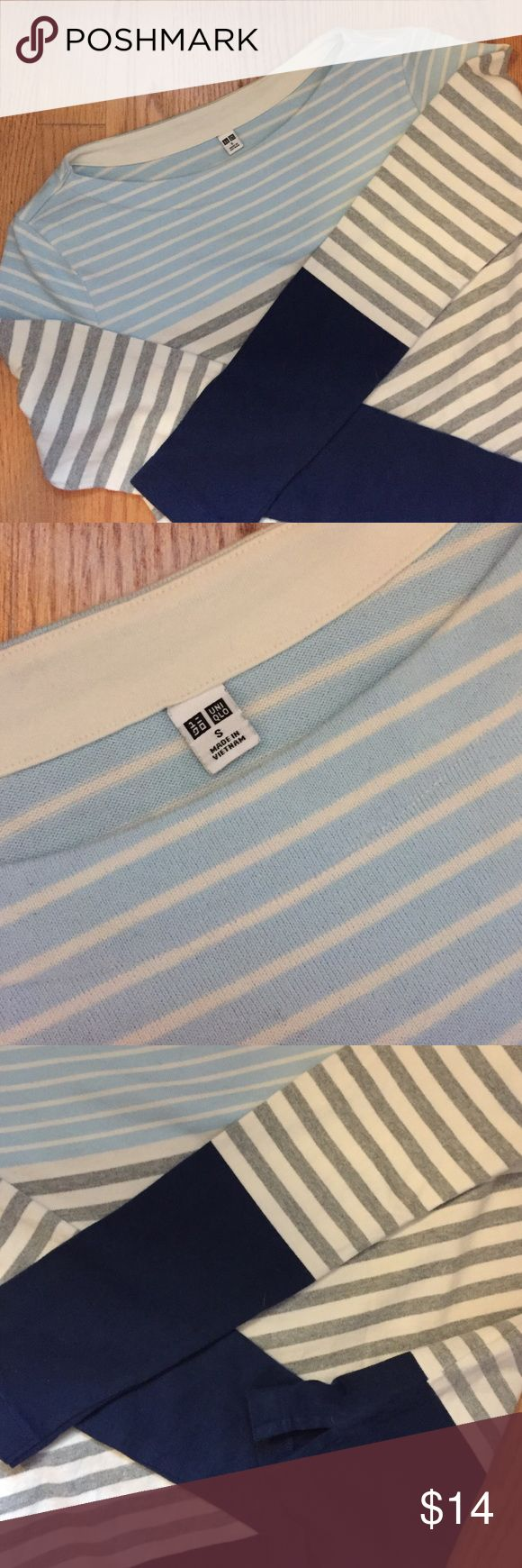Uniqlo striped shirt Fresh and stylish 100% cotton striped long sleeve shirt. In excellent condition without any fading (purchased last winter, washed once in an effort to shrink but never worn. Sigh) Uniqlo Tops