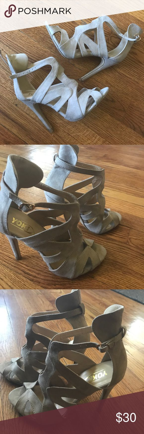 """Beige Caged Shoes Sz 8 Beige Caged shoes Sz 8 Suede, worn 1 time gold buckle on strap.. preowned by me! Heels are approx 3 1/2 to 4"""" Thanks for view! No Offers on this one! Yoki Shoes Sandals"""