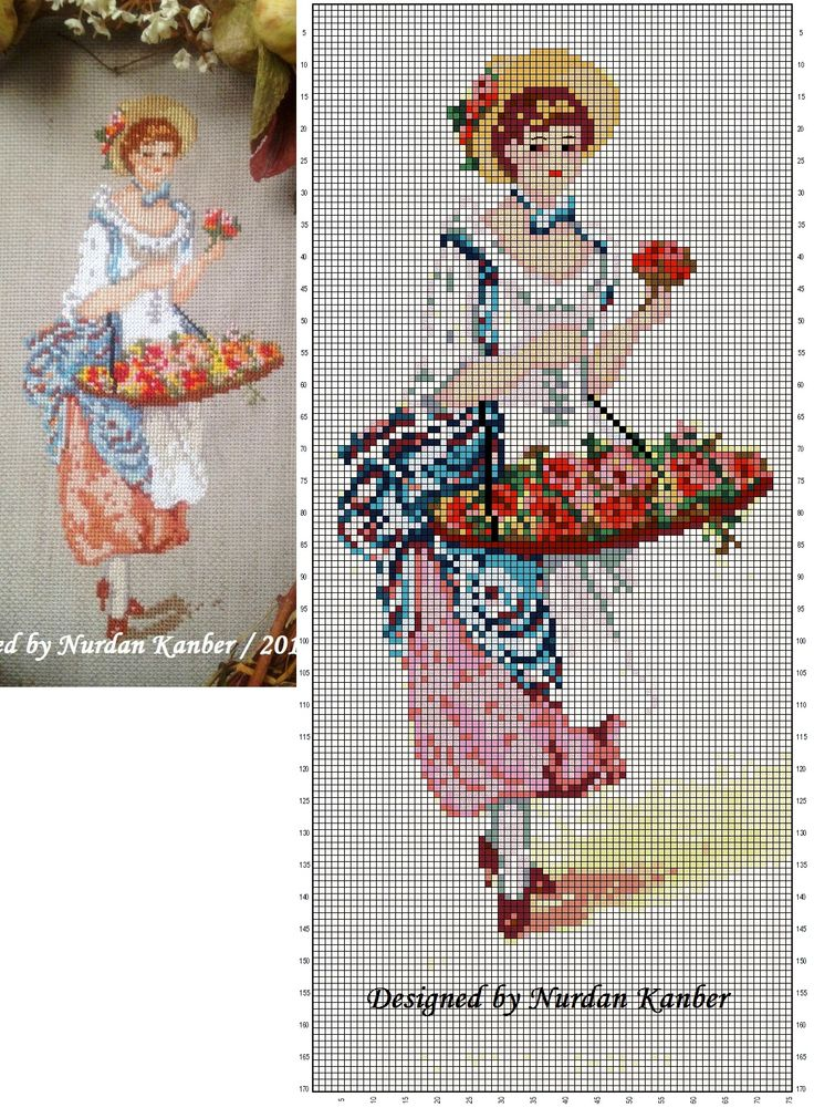 0 point de croix vendeuse de fleurs - cross stitch flowers seller