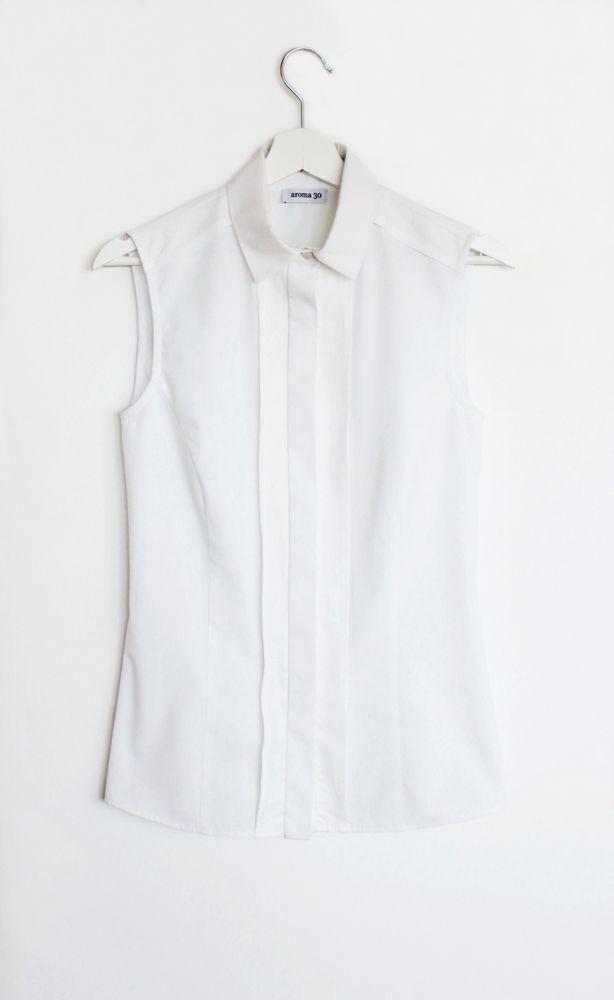 Cotton and linen sleevelss shirt