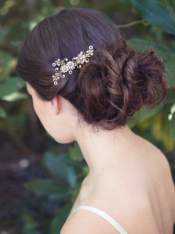 Bridal vintage comb pearl hair brooch bride hair jewelry by Elibre, $85.00
