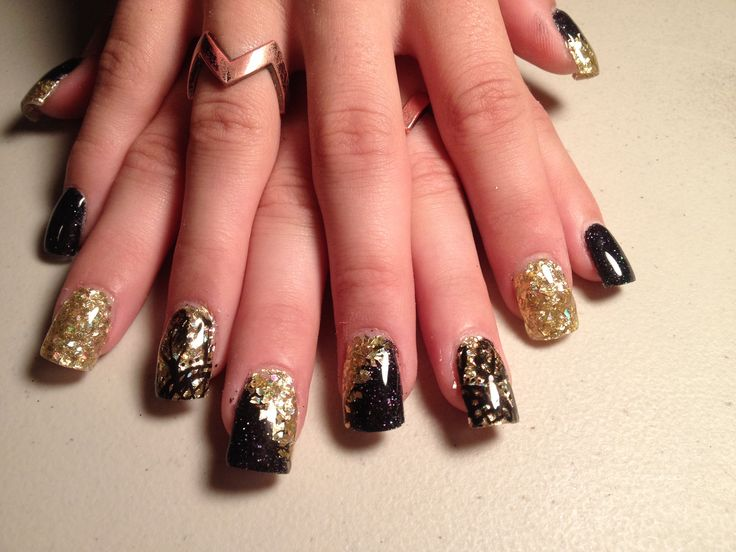 Black and gold acrylic nails . Black and gold . Square ...