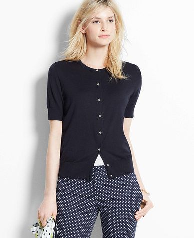 crew-neck short sleeved cardigan in black, blue or gray. RS